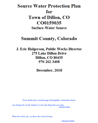 Town of Dillon Source Water Protection Plan