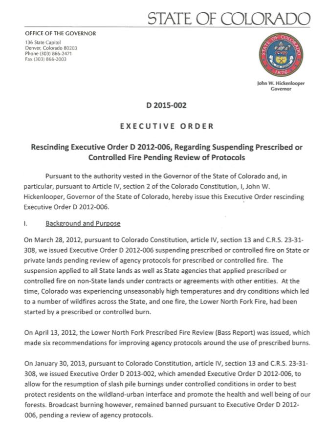 Prescribed Fire Executive Order – 4/2/2015   Coalition for ...