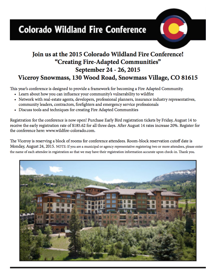 2015 Colorado Wildland Fire Conference – 7/21/2015