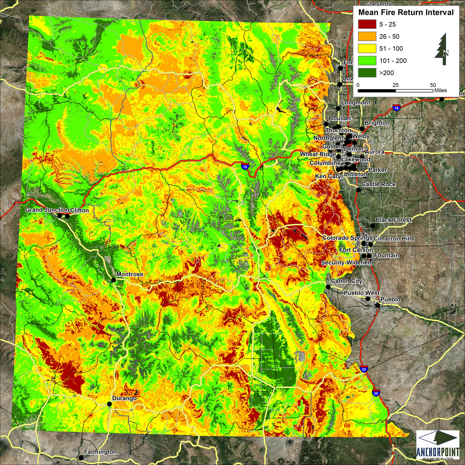 Fires Colorado Map.Modified Fire Return Interval Map Of Colorado Coalition For The