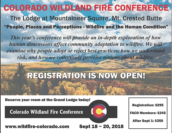 CO Wildfire Conference Promotion flyer
