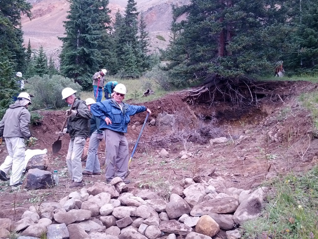 Trout Unlimited volunteers help with a mine reclamation project